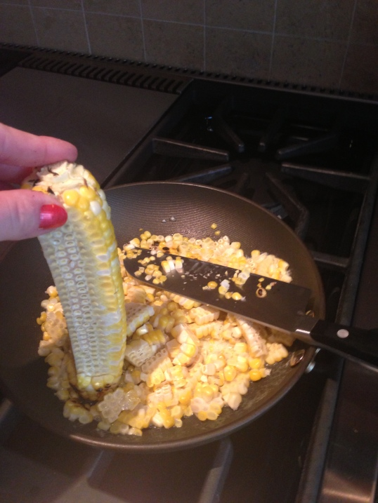 Grilled corn before being sauteed.