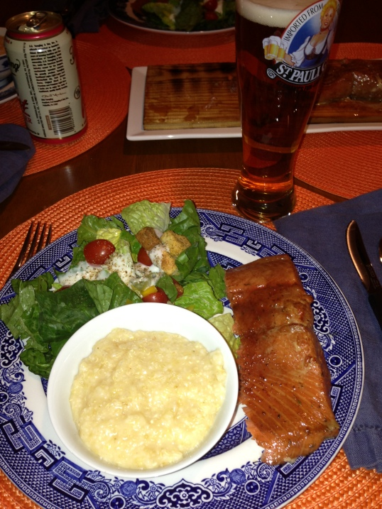 Salmon, salad, and cheesy quinoa/grits.