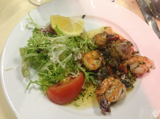 Incredibly flavorful scampi and salad!