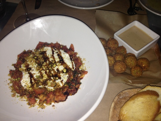 Appetizers: Whipped Burratta, Fried Goat Cheese Filled Olives