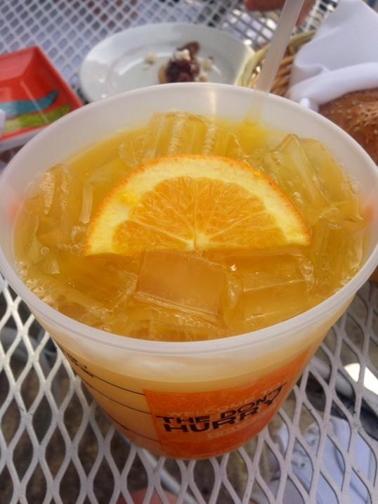 Mango puree, rum, mango vodka, and orange juice.