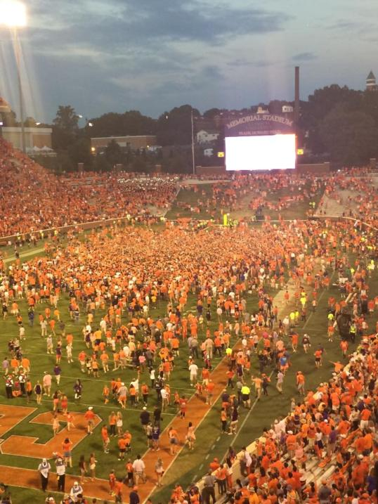 Fans headed for the Gathering at the Paw - a Clemson post-game ritual.