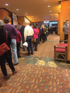 People waiting to get registered for the Chili Bowl. The actual registration is beyond those doors in the background!