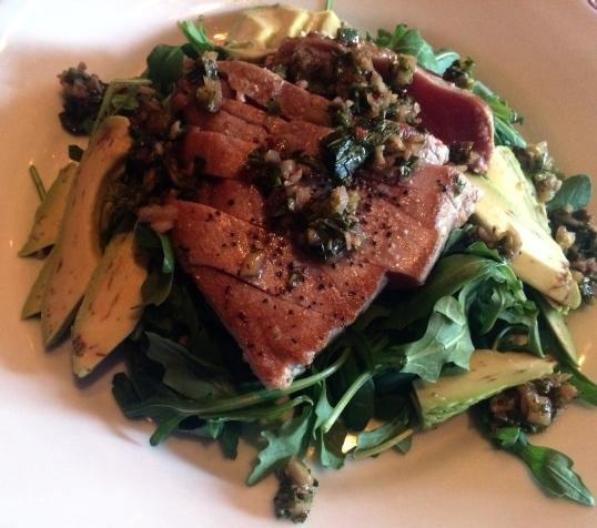 Seared Tuna salad with lots of avocado!