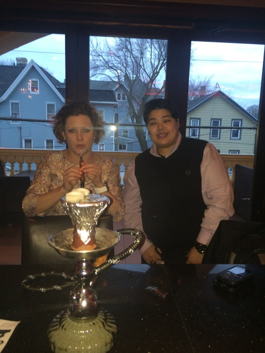 At the bar, trying Hookah with Nadia.