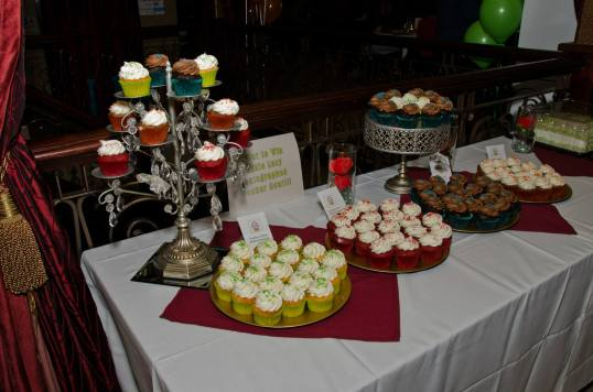 A gorgeous array of 250 cupcakes to celebrate UPAF and the hostess's birthday!